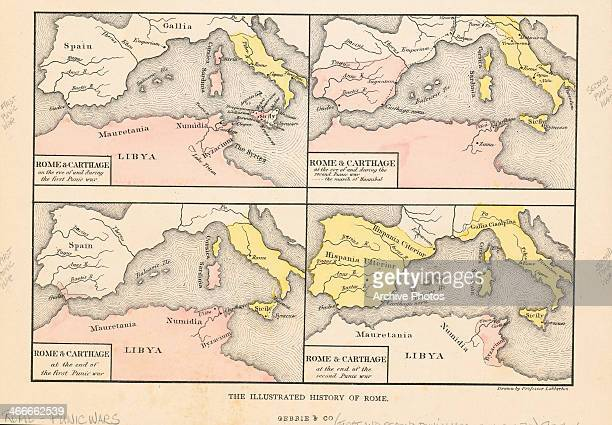 Four engraved color maps of Ancient Rome depicting Rome and Carthage during the Punic Wars Italy circa 218 BC