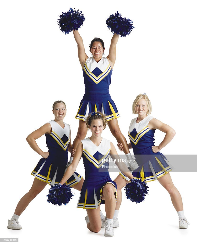 four female cheerleaders wearing blue and white are posing like a triangle while one is lifted up and raises her arms high and holds pom-poms : Stock Photo