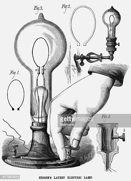 Four Figures of Edison's latest electric lamp Undated illustration