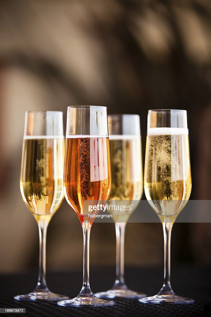 Four Flutes of Champagne : Stock Photo