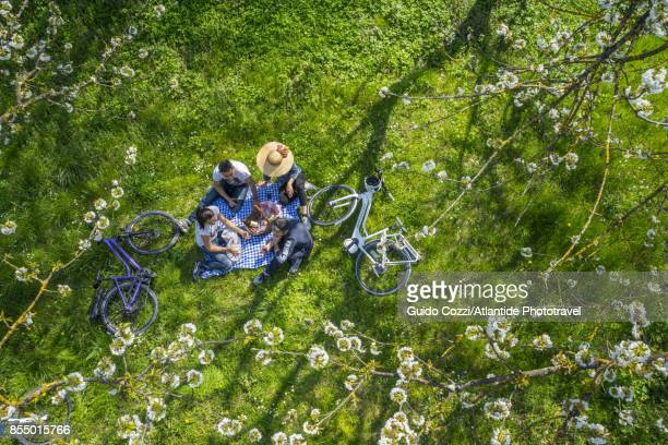 Four friend relaxing with a picnic during a bike tour