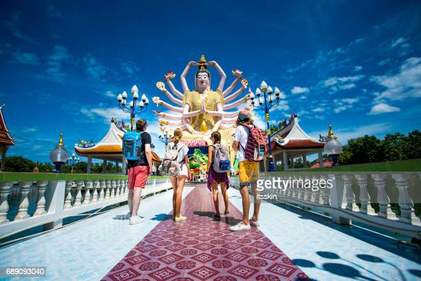 four friends exploring thailand - ko samui stock photos and pictures