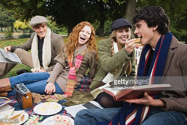 Quattro amici avendo un picnic