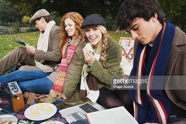Vier Freunde haben ein Picknick