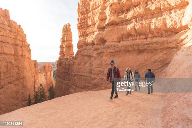 four friends on a bryce canyon hiking adventure - small group of people stock pictures, royalty-free photos & images