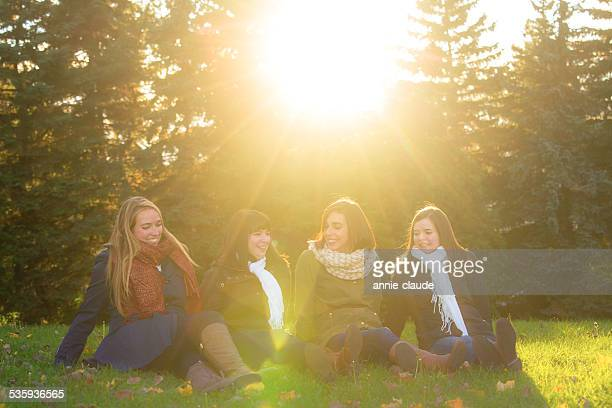 Four friends sitting and smiling in a park in fall