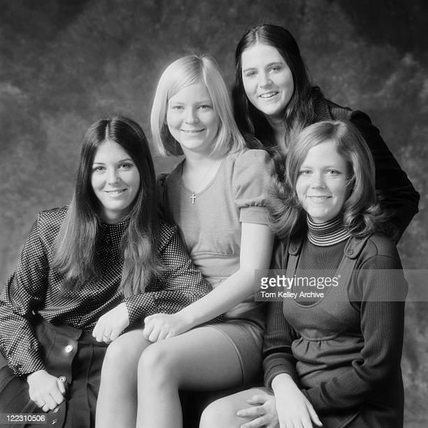 four friends smiling, portrait - 1972 stock pictures, royalty-free photos & images