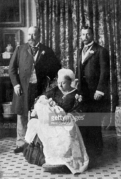 Four generations of the royal family 1894 Queen Victoria with her son Prince Albert Edward on the left her grandson Prince George on the right and...