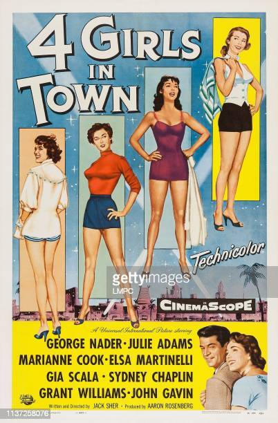 Four Girls In Town poster US poster art top from left Elsa Martinelli Marianne Koch Julie Adams Gia Scala bottom right George Nader Julie Adams 1957