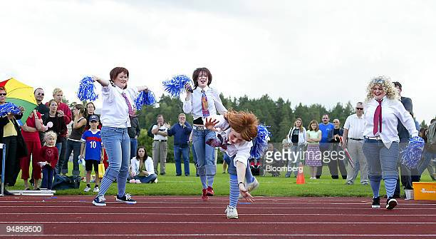 Four girls on Team Tanen Enkelit perform in the Freestyle class during the sixth annual MobilePhone Throwing World championships in Savonlinna...