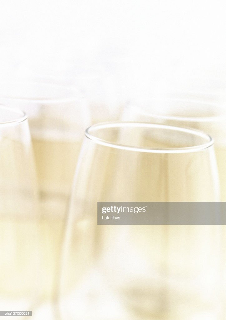 Four glasses of Champagne, close-up. : Stockfoto