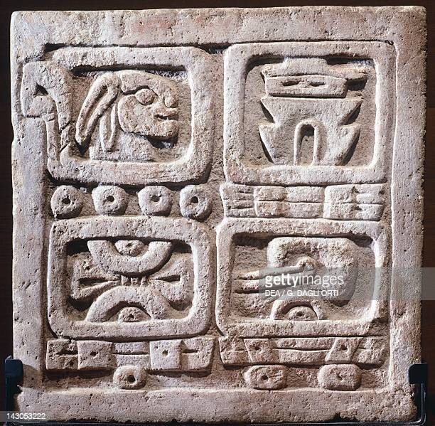 Four glyphs stone showing the systems of the Nahua and Zapotec calendars artifact originating from Xochicalco Xochicalco Civilization Mexico City...