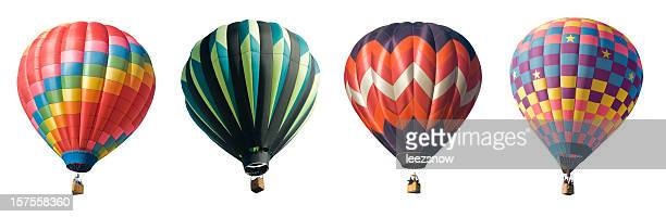 four hot air balloons isolated on white - balloon ride stock pictures, royalty-free photos & images