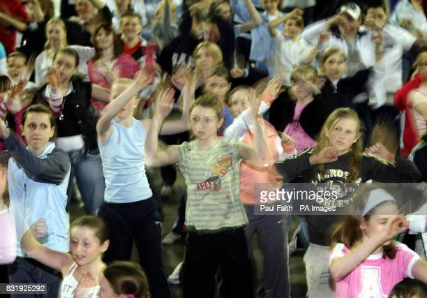 Four hundred local childern dance to 'Hip Hop' tunes at the Odyssey Arena in Belfast for the Hip Hop Childline challenge So far they have raised over...