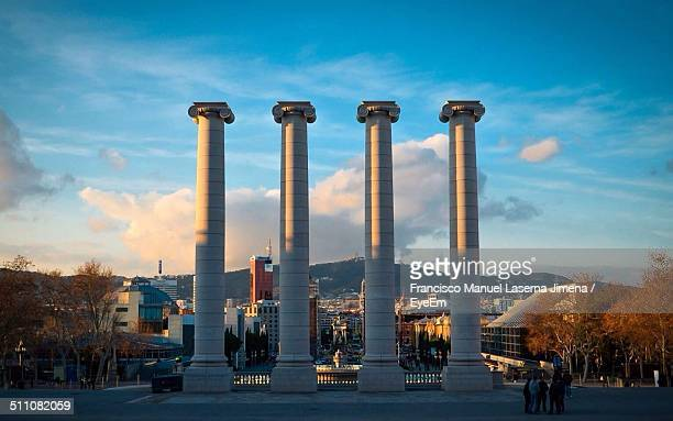 Four Ionic columns representing the four stripes of the Catalan Senyera
