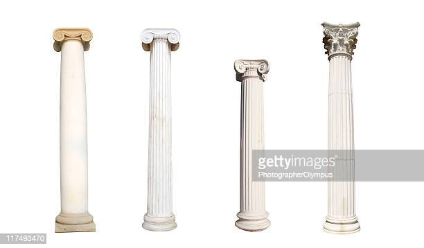 four isolated columns - classical greek style stock pictures, royalty-free photos & images