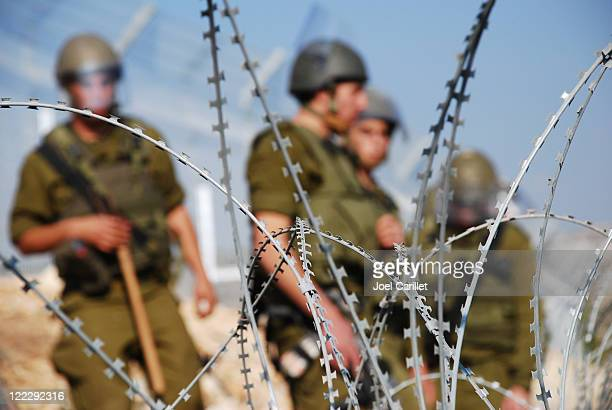razor wire and soldiers - historical palestine stock pictures, royalty-free photos & images