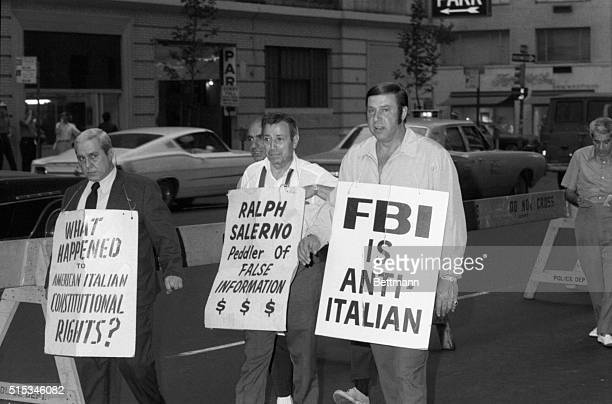 Four ItalianAmericans join the nightly picket line at the Manhattan FBI headquarters organized in part by alleged Mafia overlord Joseph Colombo of...