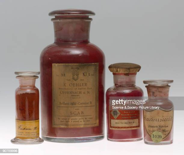 Four jars containing synthetic colorants Sudan III manufactured by Actien Gesellschaft fur Anilin Fabrikation Berlin Germany Brilliant Acid Carmine B...