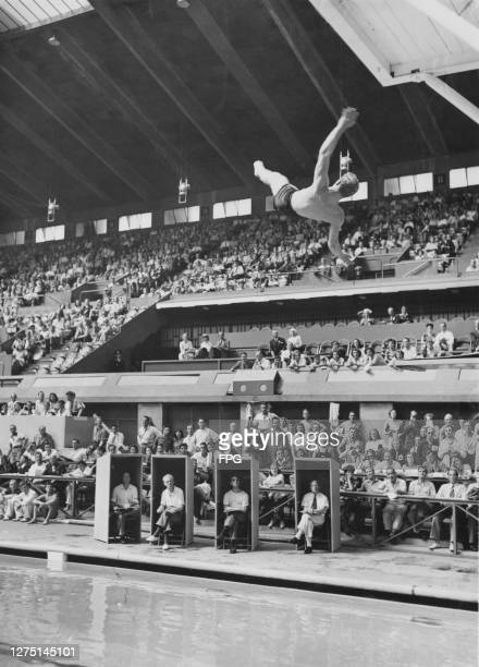 Four judges sit within their enclosed booths at the edge of the pool with spectators behind as American driver Bruce Harlan makes his final dive of...