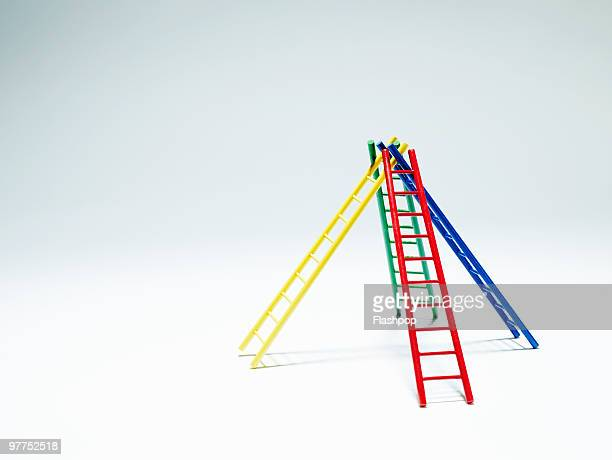 Four ladders supporting each other