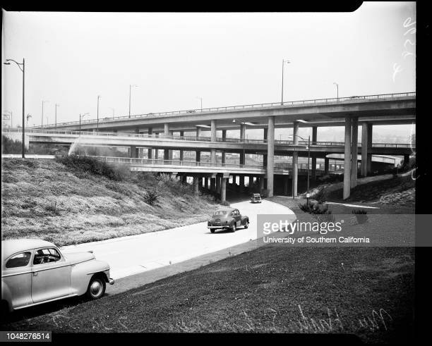Four level freeway interchange near Los Angeles Civic Center, 1 October 1952. 1. Upper level, Hollywood Freeway;3 miles completed, 10.1 miles to be...