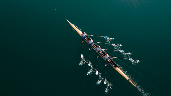 Four male athletes sculling on lake in sunshine 861260718