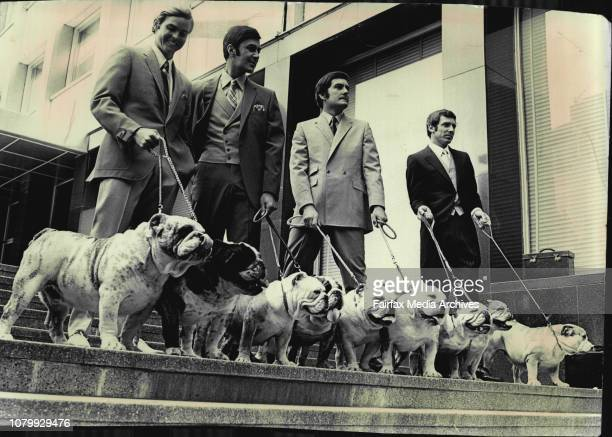 Four male models yesterday walked from the Wentworth hotel though the city modelling hte latest in suits from Anthony squires Nine bulldogs...