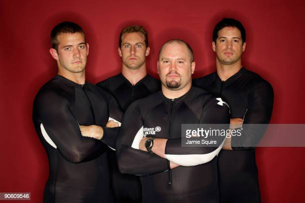Four man bobsled team members Justin Olsen Curtis Tomasevicz Steve Holcomb and Steve Mesler pose for a portrait during Day Two of the 2010 US Olympic...