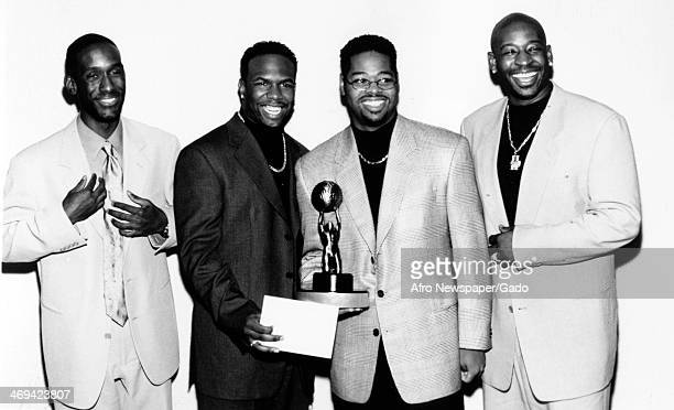 A four man singing group Boyz II Men specialists in RB soul and acapella music founded in 1988 1990