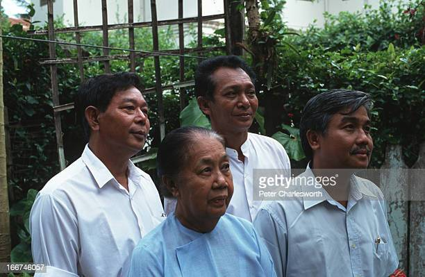 BURMA YANGON RANGOON MYANMAR Four members of parliament elected in 1990 elections who have been expelled from Aung San Suu Kyis political party the...