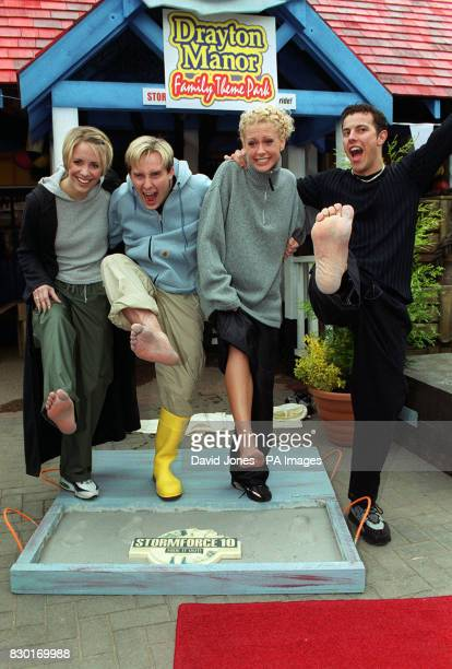 Four members of the Pop group Steps Claire 'H' Faye and Lee leave their footprints in concrete to mark the occasion of launching the new Stormforce...