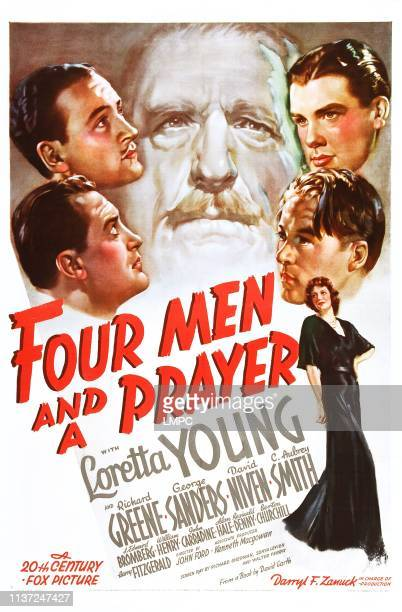 C Aubrey Smith clockwise from top right Richard Greene William Henry Loretta Young George Sanders David Niven on poster art 1938