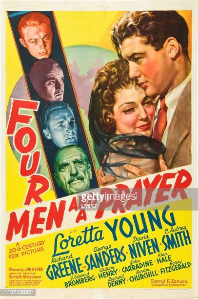 Four Men And A Prayer poster left from top Richard Greene David Niven George Sanders C Aubrey Smith right Loretta Young on poster art 1938