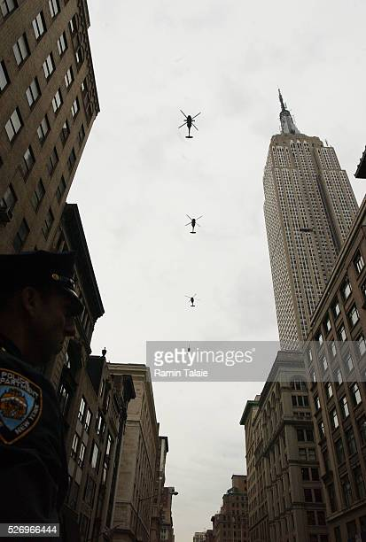 Four military helicopters flew over the parade route as military veterans marched down Fifth Avenue after a special ceremony at the Eternal Light...