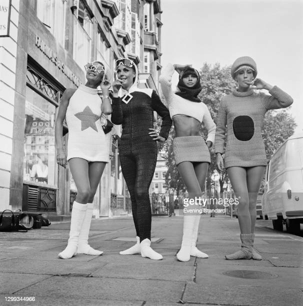 Four models wearing quilted mini skirts, mini dresses and catsuits, UK, 6th September 1966.