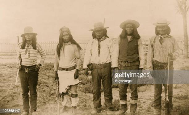 Four Mojave Indian chiefsThe second file from the left is 'Rowdy' a Yuma Indian acting as interpreter 1887