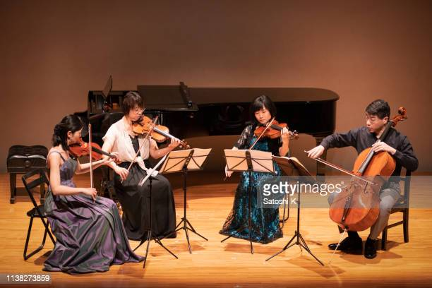 four musicians playing violin and cello at classical music concert - classical concert stock pictures, royalty-free photos & images