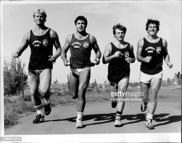 Four New players Paul Sironen Scott Gale Craig Higgins and David FitzgeraldBalmain RL team first training run outside Leichhardt Oval January 07 1985