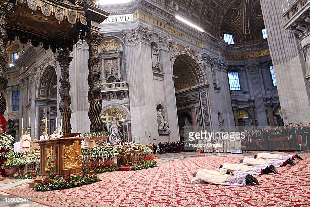 Four newly named bishops by Pope Benedict XVI attend the Epiphany Mass at the St Peter's Basilica on January 6 2013 in Vatican City Vatican During...