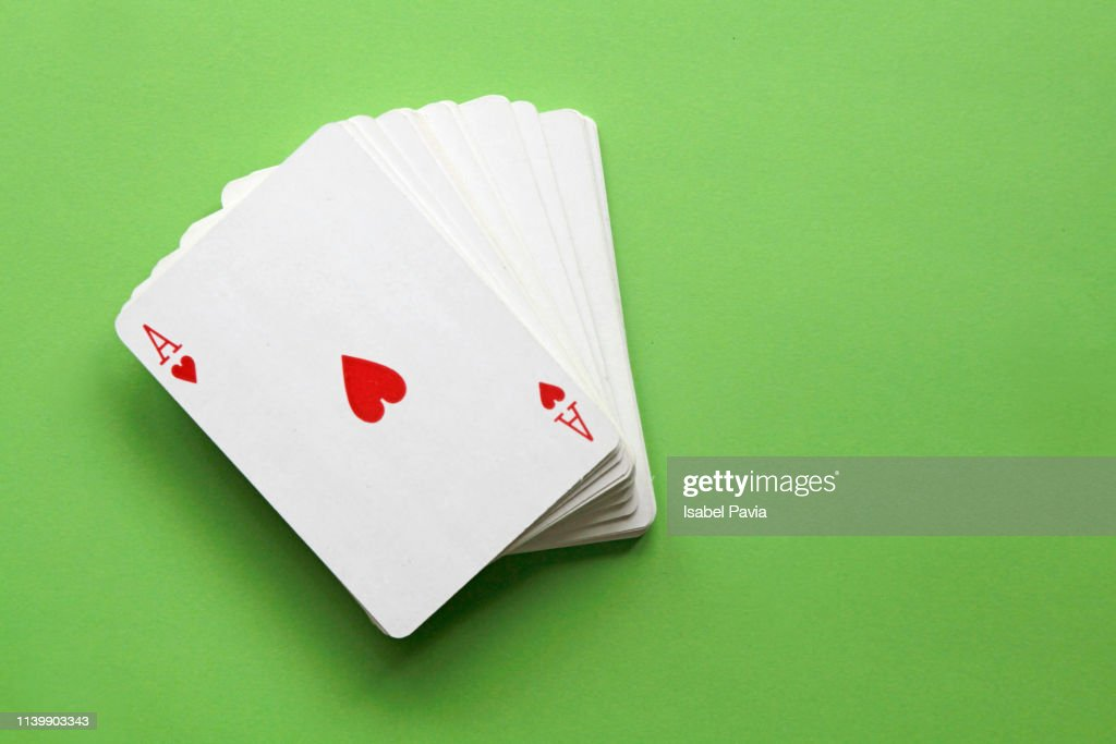 Four of kind aces poker hand. : Stock Photo