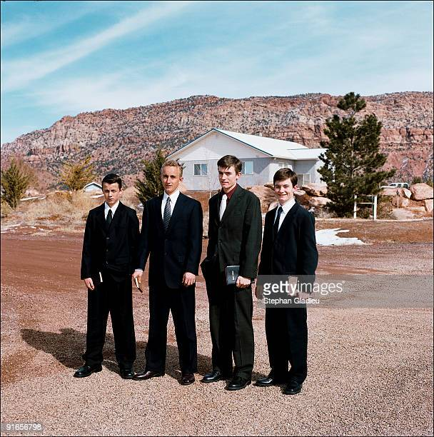 Four of Ray Timpson's sons on their way to Sunday church in Centennial Park, a small polygamist community located at the border of Utah and Arizona....