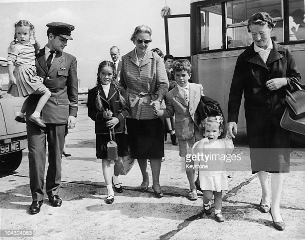 Four of the children of Charlie Chaplin and Oona O'Neill at London Airport on their way home to Switzerland after a holiday at Hayling Island...