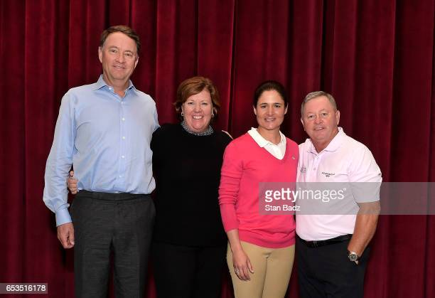 Four of the five members of the 2017 Induction Class Davis Love III Meg Mallon Lorena Ochoa and Ian Woosnam pose for a photo during the Hall of Fame...