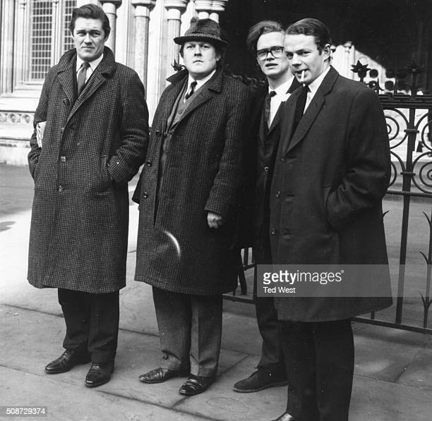 Four of the members of 'Private Eye' the satirical political magazine Richard Ingrams William Rushton Christopher Booker and Nicholas Luard pictured...