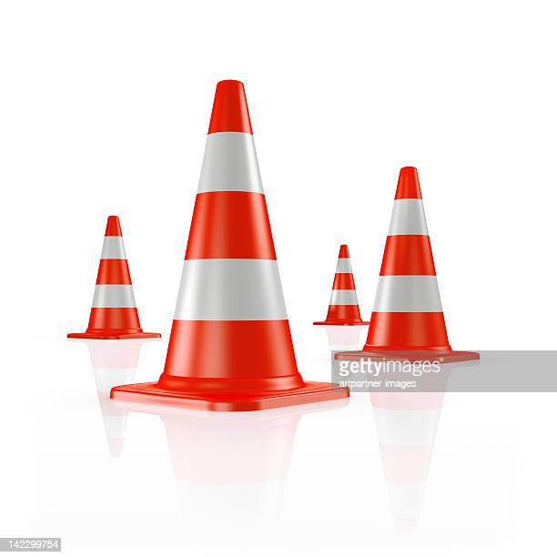 four orange traffic cones - traffic cone stock pictures, royalty-free photos & images