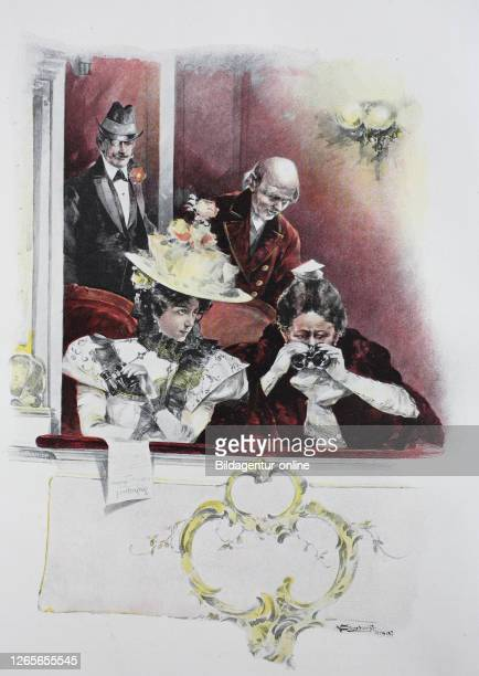 four people in the lodge of an opera original print from the year 1899 vier Menschen in der Loge einer Oper Reproduktion einer Originalvorlage aus...