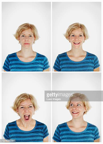 Four photo booth shots of blonde woman