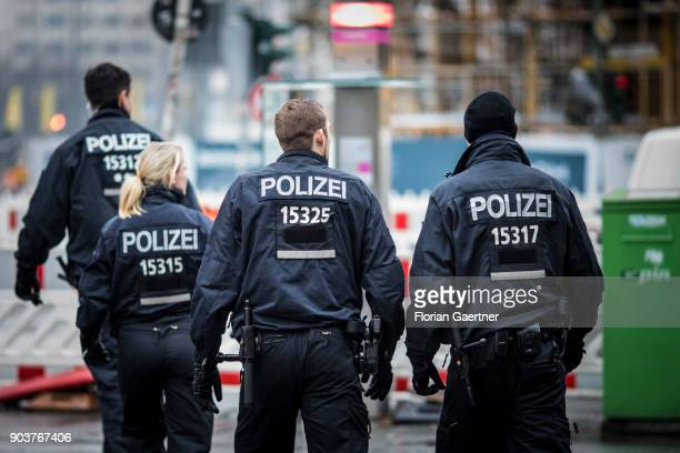 Four police officers are pictured on January 11 2018 in Berlin Germany