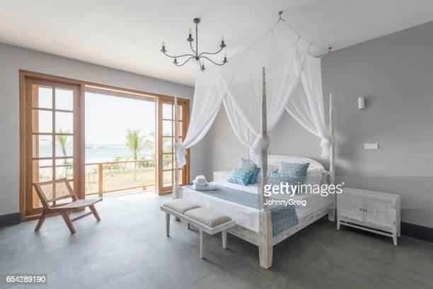 four poster bed with mosquito net in bright hotel room - mosquito net stock photos and pictures